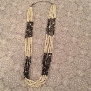 J.Crew Gray & White Layered Pearl Necklace